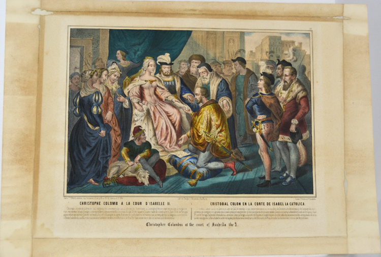 Lithograph print showing Christopher Columbus kneeling before Queen Isabella at the Spanish court.